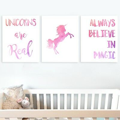 Set of 3 Unicorn Wall Art Poster Print Picture Nursery Childs Room Girl Pink -72