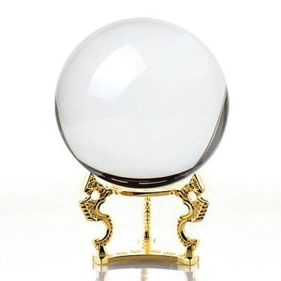 Amlong Crystal Clear Crystal Ball 150mm 6 inch Including Golden Dragon Stand