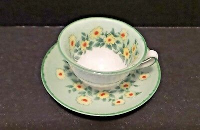 Vintage Crown Staffordshire Green Floral Mini / Miniature Cup & Saucer