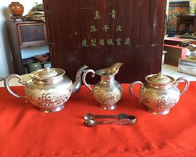 Antique Chinese  Silver Tea Set Chrysanthemum and Prunus pattern NIB
