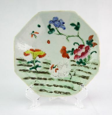 Antique Chinese Porcelain Hexagonal Pedestal Offering Dish - Rooster