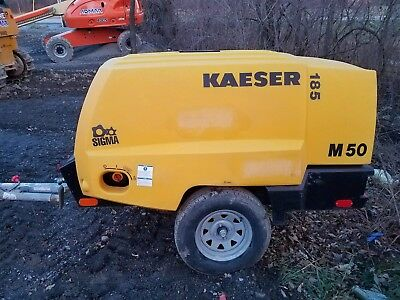 2015 Kaeser m50 185 cfm diesel engine 937 hours tow behind compressor atlas