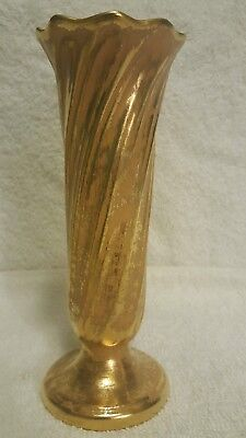 Antique STANGL granada gold #1906 footed vase, hand painted, mint