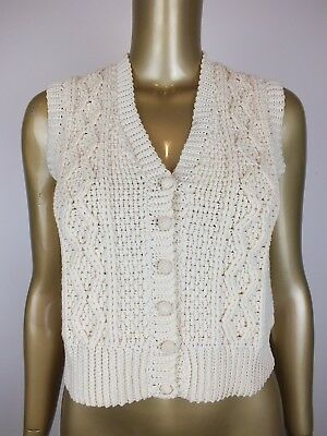One Off! Patons Vintage Crochet Cable Knit Wool Sweater Vest - S