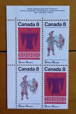 "1972 Canada Stamps #568-69 MNH UL Se-Tenant Plate Block ""8¢ Algonkian Indians"""