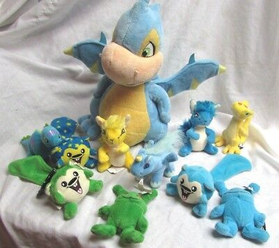 "Neopets Blue Scorchio Tush tag 12"" Dragon Plush w/ 10 small Pets"