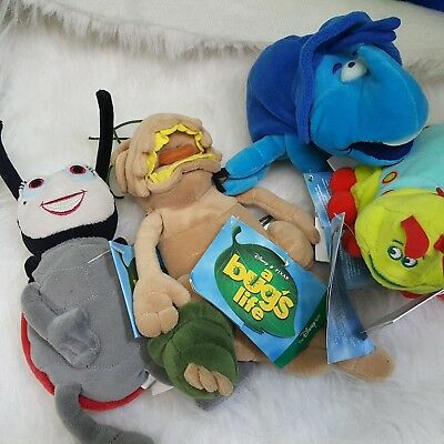 Disney A Bug's Life Stuffed Bean Bag Plush P.T. Flea Heimlich Caterpillar Lot 4
