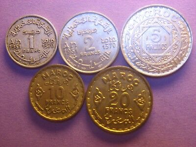 FRENCH  MOROCCO 1 , 2 , 5 , 10 & 20  Francs 1951