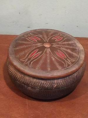 Antique Vintage Round Wooden Decorative Japanese Trinket Box Made in Japan
