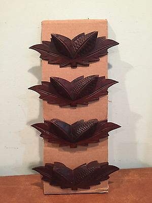 Antique Vintage Set of 4 Decorative Walnut Drawer Pulls Lot 2