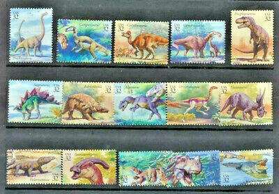 Dinosaurs United States #3136 Mint NH Complete Set of 15 Single Stamps (NotSheet