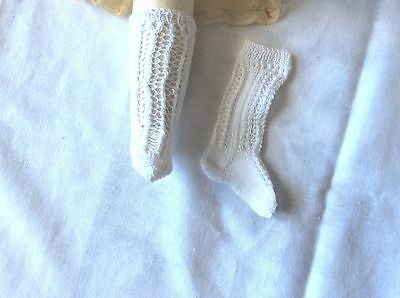 Antique pattern socks white color for  antique fashion French German doll