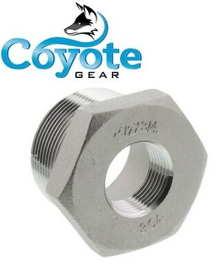 "304 SS 1-1/2"" Male x 3/4"" Female NPT Thread Hex Reducer Bushing Stainless Steel"