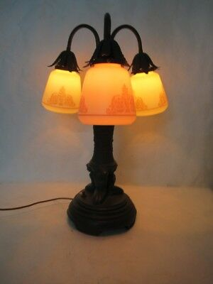 Magnificent Art Deco Egyptian Revival Lamp With Lovely Moe Bridges Shades