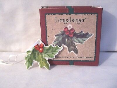 Longaberger 2001 Holly With Berries Christmas Tie-On NIP