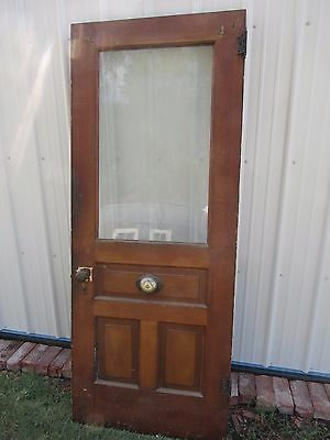 1880 Antique Wood Door 3 Panels Square Glass Brass Door Ringer Works