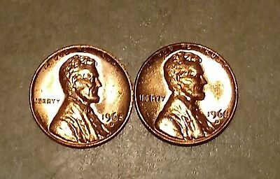 Pair of 1968 D Mint Lincoln Memorial Cent Mint Uncirculated Pennies
