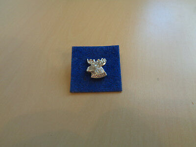 Mint Vintage Moose Head Sponsor Lapel Pin/Button-Sterling Silver USA-1950s