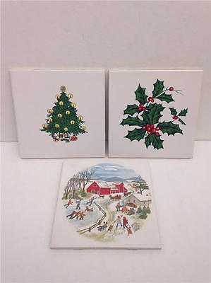 "Lot of 3 Vintage Franciscan 6"" Christmas Tree, Holly & Winter Scene Tiles"