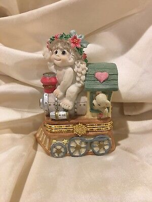 NIB Dreamsicles CHRISTMAS TRAIN #10192 Figurine, Trinket Box ~ Cherub On Train