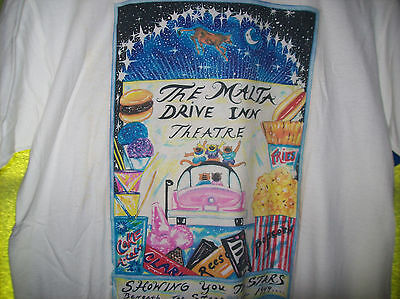 VINTAGE MALTA NY DRIVE IN THEATER Adult L Large T SHIRT Route 9 Upstate NEW YORK