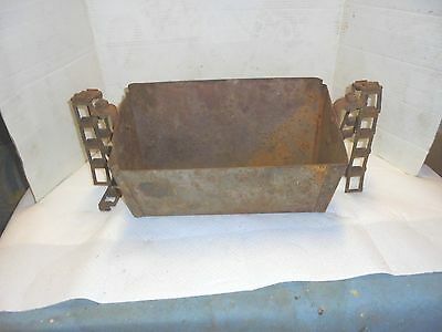 "14-1/2"" rusty metal conveyor scoop with chain flower garden industrial decor #2"