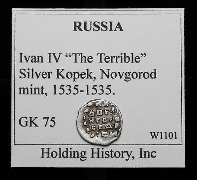 """RUSSIA. Ivan IV """"The Terrible"""", Hammered Silver Kopek, Wire Money, G&K 75"""