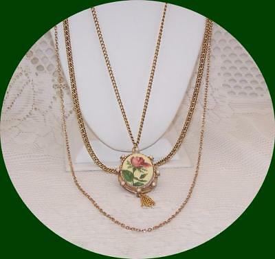 Vintage Gold tone 3 Chain Necklace with painted Rose Locket with Faux Pearls.