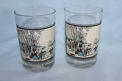 set of 2 Currier and Ives glasses/ tumblers Winter Pastimes Arby collection 1978