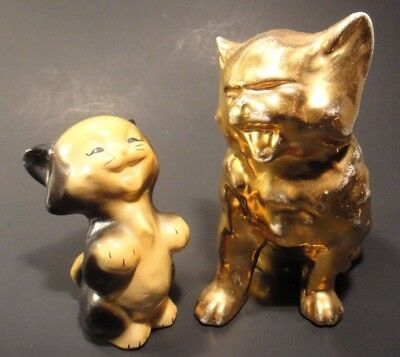 "Vintage Laughing Kitty Cat Duo- Cheerful Fun Figurines 5"" and 3 1/2"" Tall"