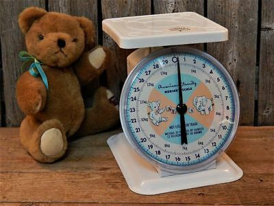 Vintage Chic BLUE Baby Scale Shabby Cottage Farmhouse WORKS