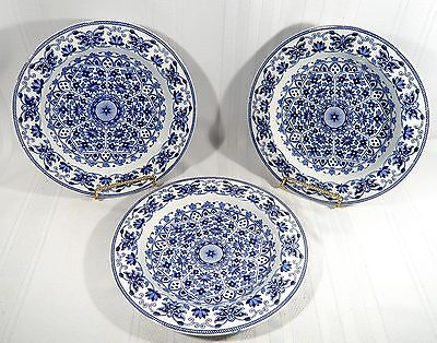 "3 Antique Booths T.B.& S. INDIAN ORNAMENT Large Flat  BOWLS 10 1/4""  B&W Pottery"