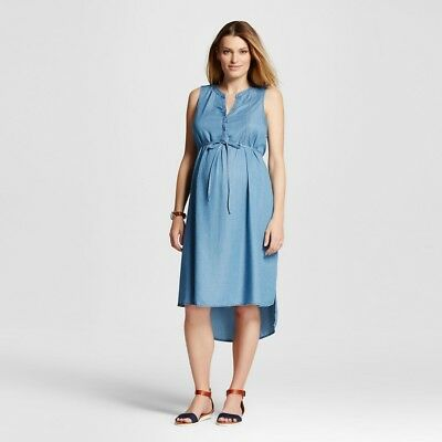 Maternity A Line  Sleeveless Dress Denim Blue S - Liz Lange