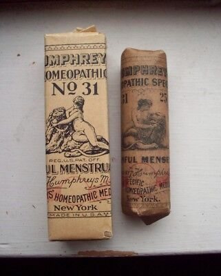 Lot of 2 Scarce Humphreys Remedy Bottles, Female Weakness or Painful Menses