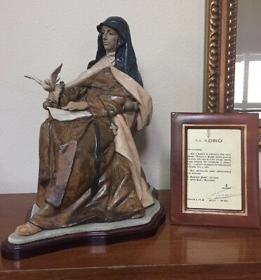 RARE Lladro Seated Saint St. Teresa Writing Dove Limited Edition 425 HUGE Signed