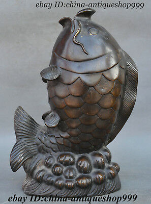 Old Chinese Purple Copper Bronze Fengshui Fish Spray Decoration Statue Sculpture