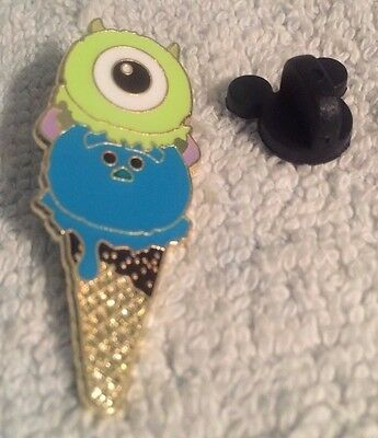 Disney Trading Pin - Mike And Sully Monsters Inc. Ice Cream Cone Shaped