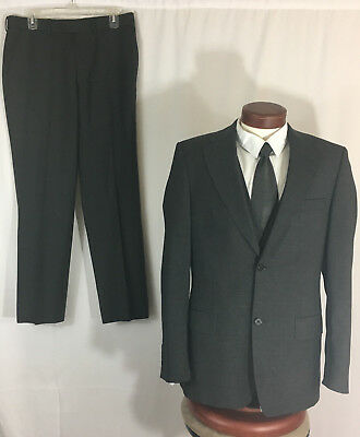 Zara Man Mens 2 Piece Full Suit 40R 34x31 Solid Gray Flat Front Slacks FITTED
