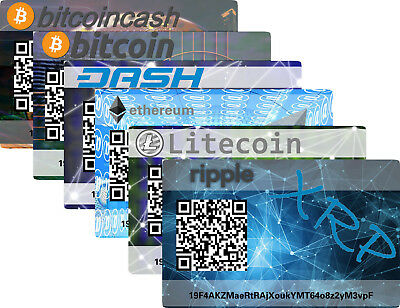 Paper Card Wallet Cryptocurrency 6er Pack Bitcoin Cash Dash Ethereum Litecoin