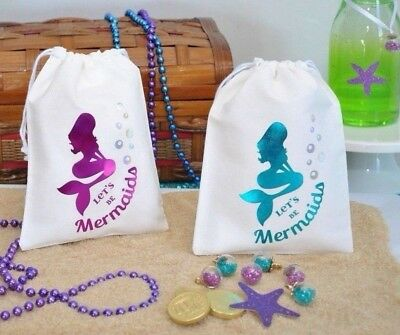 Let's Be Mermaids Drawstring Favour Treat Bag Under The Sea Party Aqua/Fuchsia