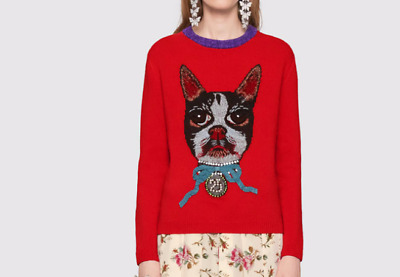 New Occident Fashion Women Nail-beads Dog Embroidery Knitting Sweater