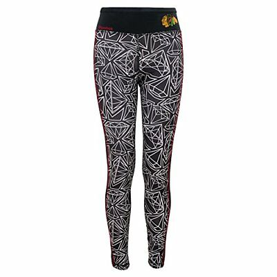 "NHL Chicago Blackhawks Youth Girl's 7-16 ""Diamond"" Leggings, Large, Black"