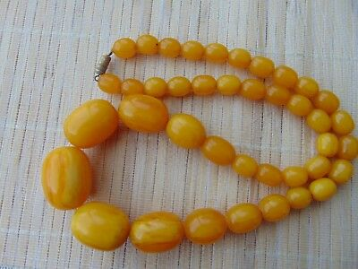Antique honey yellow amber color Bakelite Beads Necklace Prayer 70gr ~ Tested