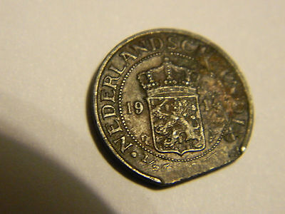 1914 Netherlands East Indies 1/2 Cent Error Clipped Planchet