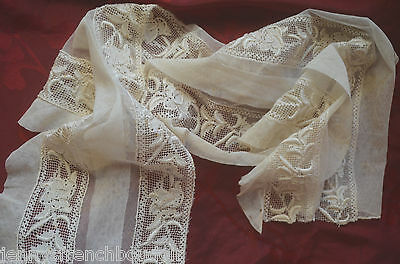 Part of an antique French hand made filet lace and white work hem for re-work