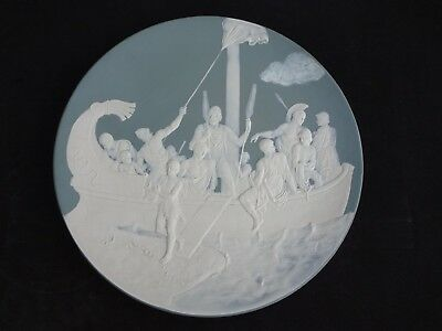 """Antique Mettlach Cameo Charger #2442, 18 1/2"""", Signed"""
