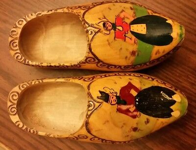 Vintage Dutch Holland Carved Solid Wood Wooden Shoes Clogs Wall Decor