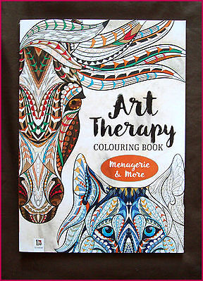 MENAGERIE & More - ART THERAPY ADULT COLOURING DeStress Colour-in 96pgs NEW BOOK