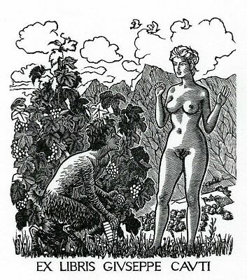 Mark SEVERIN Erotisches Exlibris Erotic Nude Nymph Satyr Wood Engraving X2 #379