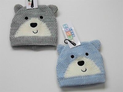 Baby Boy Knitted And Lined Bear Face Winter Hat